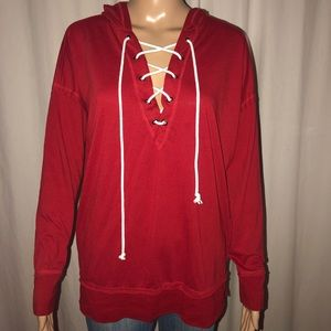 Forever 21 Tops - Forever 21 lace up hooded tee